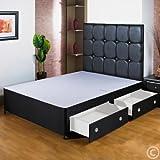Hf4you 4ft 6doble negro cama con canapé base–2cajones–pequeño negro de piel sintética H/B