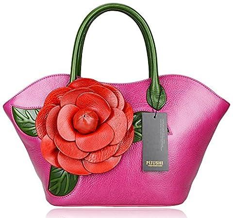 Pijushi Designer Inspired Ladies Handmade Leather Tote Shoulder Bags U8828 (Purple)