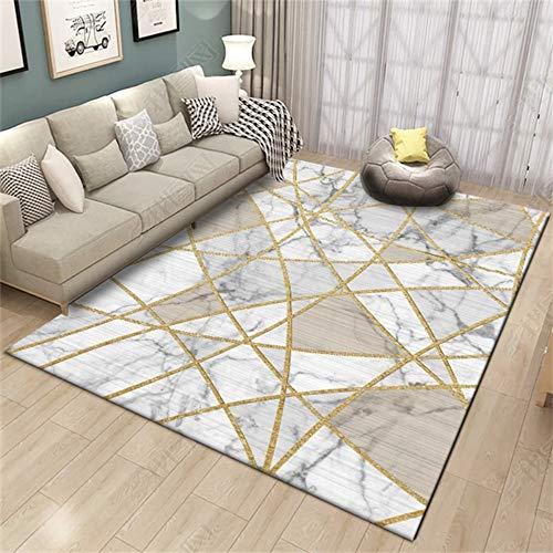 dusg Mode Wohnzimmer Große Teppich Moderne Goldene Geometrische Schlafzimmer Tür Dekorative Teppiche Salon Tapete Rutschfeste Bodenmatte, 100 × 160 cm - Dekorative Teppiche Moderne Teppiche