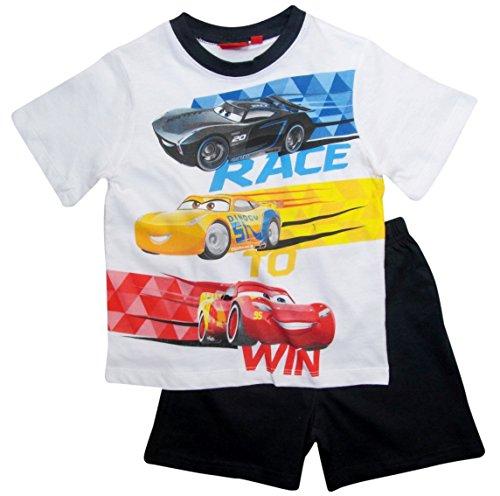 Cars Disney 3 Kollektion 2018 Schlafanzug 92 98 104 110 116 122 128 Pyjama Kurz Shortie Shorty Lightning McQueen Jungen (Weiß-Blau, 122-128)