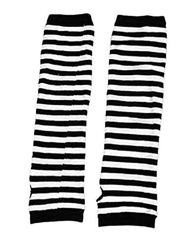 sourcingmap® Mitaines de cyclisme en tissu rayé-Gants longs imprimés Chauffe