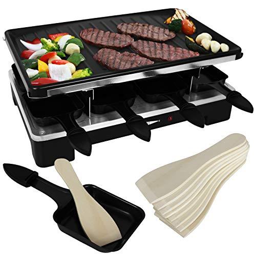 Elektrischer Raclette Grill für 8 Personen mit Pfännchen und Schieber 1200-1400 Watt Tischgrill antihaftbeschichtet Partygrill