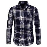 JYJM❤️Jacke Herren Winter Herren Langarm-Gitter Plaid Malerei Große Größe Casual Top Bluse Shirts Herren T-Shirts mit Rundhalsausschnitt - Größen S - XXXL erhältlich in verschiedenen Farben