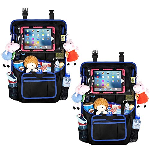 """Auto Rückenlehnenschutz Utensilientaschen Organizer - Große Aufbewahrungstasche für Reisezubehör und Spielzeug mit 12,9"""" Tablet-Halter für Kinder, Rücksitzbezug, Trittmatten (2-PACKS)"""