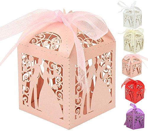 Greenmigo 50pcs sposa e sposo hollow romantica matrimonio favore scatole nastri bomboniere regalo scatoline, per matrimonio anniversario fidanzamento nozze d'oro nozze d'argento(pink)