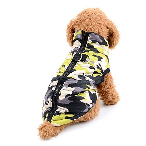 Imagen de selmai camo pequeño perro gato chaqueta de invierno chaleco acolchado pet puppy disfraz de camuflaje con arnés perrito chihuahua ropa de ropa de invierno m amarillo