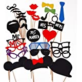 Gearmax® 31pcs Set Juego de Accesorios de Photocalls Máscaras Disfraces para Boda Festival Fiesta DIY bigote gafas boca corbata Familia Navidad cumpleaños