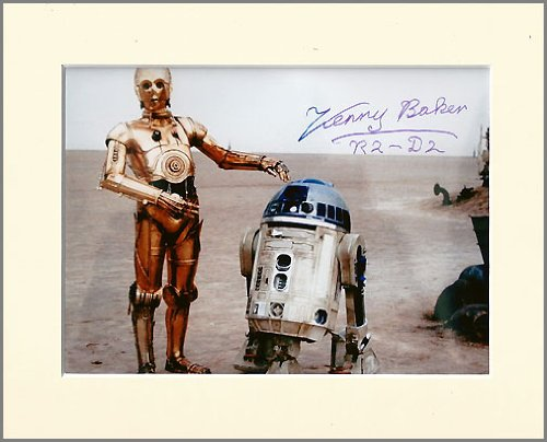 KENNY BAKER STAR WARS R2-D2 SIGNED AUTOGRAPH PHOTO PRINT IN MOUNT by Unknown