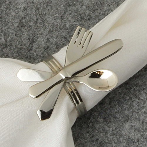 MACOSA HOME 6er Set edle Serviettenringe mit Besteckapplikation in Silber 6 x 4 cm festliche Tisch-Dekoration Serviettenhalter Weihnachten Feier Kommunion Taufe Geburtstag Festtage Tischset Dinner