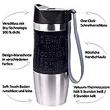 PRESIT Mug Thermobecher to go - 370 ml, 100% dichter Schnellverschluss, Spülmaschinengeeignet, Isolierbecher, Kaffeebecher to go - schwarz - 2