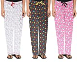 #5: Livzing Girls 100% Cotton Night Track Pant Pink, White, Grey Pack of 3