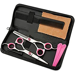 Set de tijeras de peluquería profesionales de JYHY, tijeras para cortar y esculpir; herramientas para corte de pelo familiar y barberías, 15,2 cm; color rojo rosado