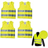 Lot de 4 gilets de signalisation couleur jaune, certification PN – EN471, bandes réfléchissantes et fermeture velcro