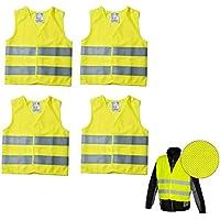 Juego de 4 chalecos de seguridad amarillos - Certificación PN - EN 471 - Con bandas reflectantes y velcro