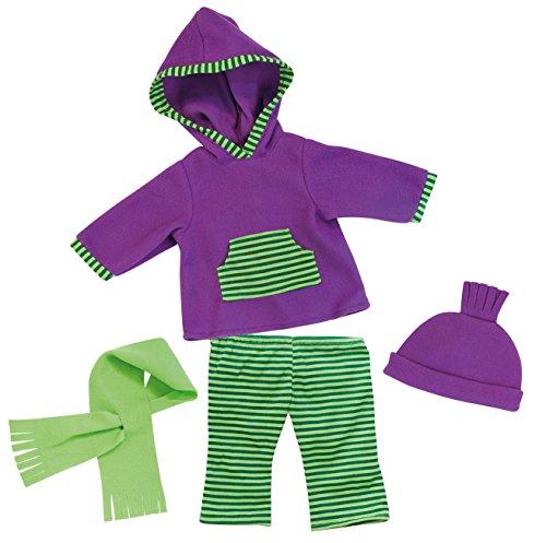 Bayer Design - 83844 - Vêtement Pour Poupée - Habit Poupon - Ensemble Gilet A Capuche + Pantalon Jogging Sport - Vert/violet - 38 Cm