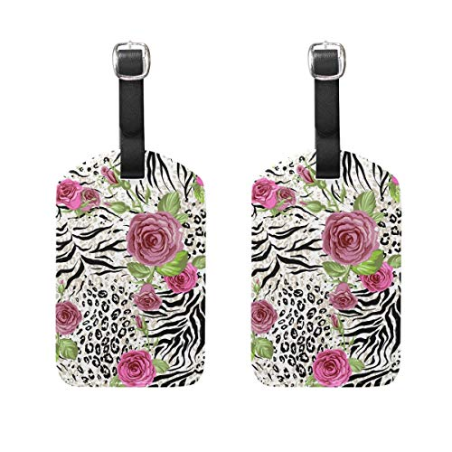 2 PCS Kofferanhänger Valentine's Day Animal Skin and Roses Suitcase Labels Travel Accessories