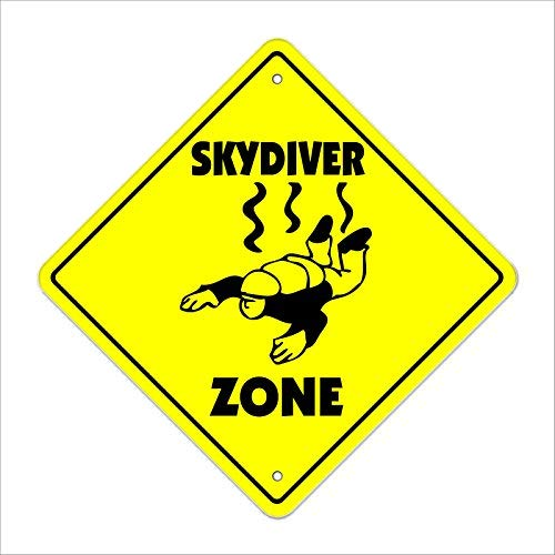 Monsety Skydiver Crossing Sign Zone Xing High Air Borne Sky Diving Fallschirmspringer Humor Metallschild No Rost UV-geschützt & wasserdicht