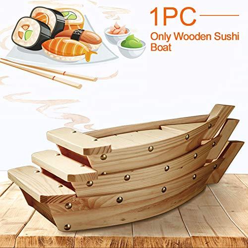 Bclaer72 vassoio da sushi in legno per servire barca, stoviglie da ristorante, bar, vassoio da portata per sushi, realizzato a mano in cucina giapponese, come da immagine, large