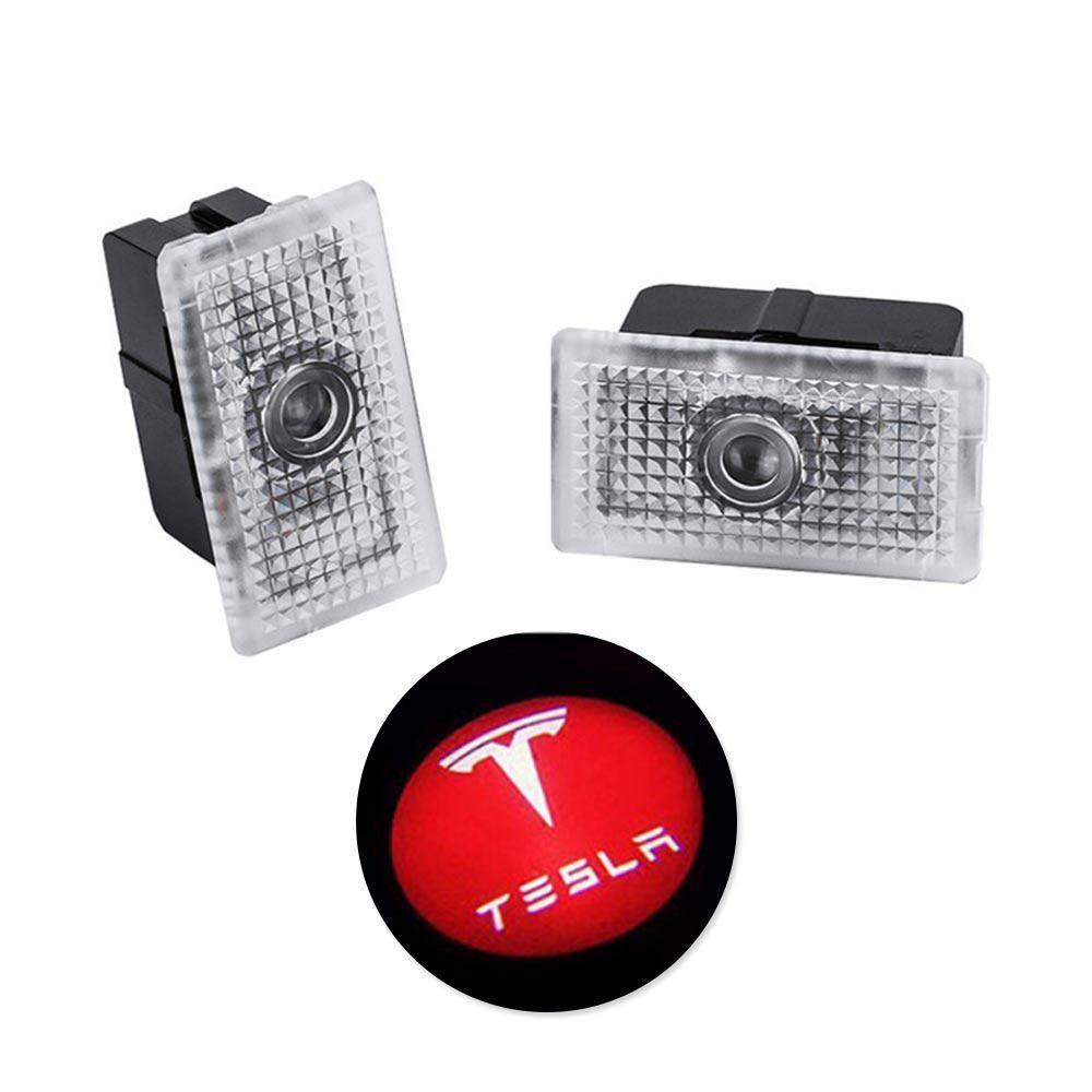 Tesla Model 3 luz de la puerta del coche Inal/ámbrica Led Bienvenido Proyector L/áser Logo Luz Fantasma Sombra Luz L/ámpara Logos 2pcs