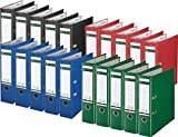 Sparpack Leitz 1010 Qualitäts-Ordner Plastik brei, mit patentierter 180º-Präzisionsmechanik 14 Farben zur Auswahl (20, schwarz blau rot grün)