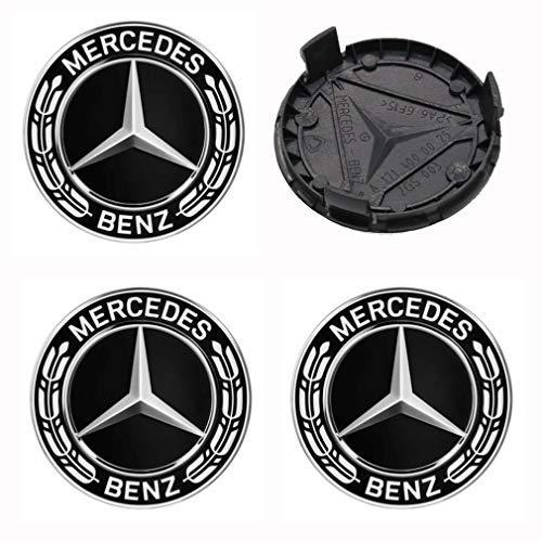 4 Stück 75mm Schwarz Ersatzteil Nabendeckel Radnabenkappen Felgendeckel für Mercedes Benz Felgenkappen Nabenkappen Wheel Caps Radnabenabdeckung