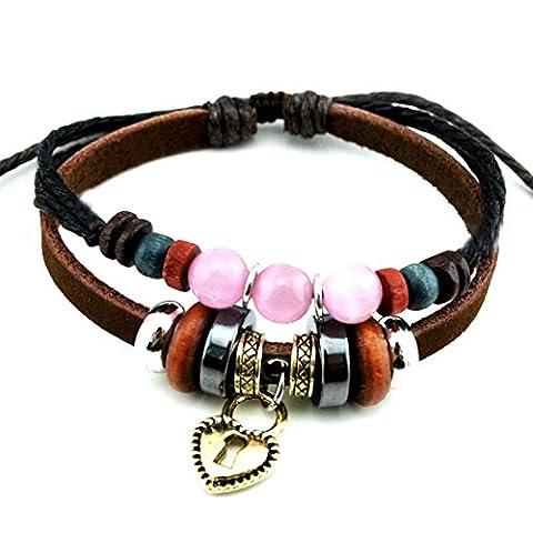 Plus de Fun Rose Boule de cristal Bracelet Lovely Lock Pendentif en forme de cœur Motif Bracelet de perles pour les amoureux