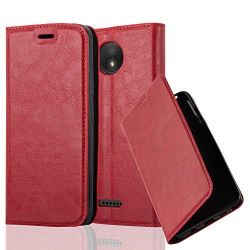 Cadorabo Hülle für Motorola Moto C Plus - Hülle in Apfel ROT – Handyhülle mit Magnetverschluss, Standfunktion und Kartenfach - Case Cover Schutzhülle Etui Tasche Book Klapp Style
