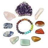 11 cristales de curación de chakras, lote de 7 piedraschakras, pulsera chakra, grupo de amatistas, cuarzo rosa y blanco, cristal de Bohemia, juego de meditación