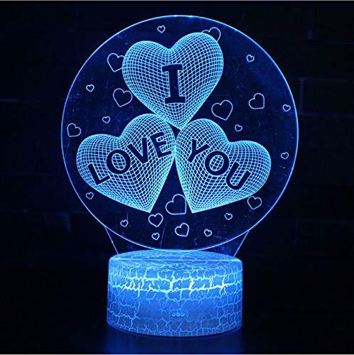 er 3D Illusion Nachtlicht, Touch Button Tisch Schreibtischlampe Mit 7 Farben Licht Für Weihnachten Halloween Geburtstagsgeschenk Gift Ich Liebe Dich Thema) ()