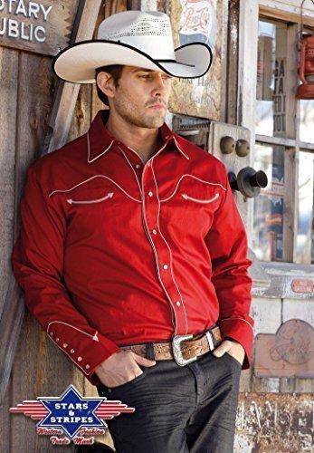 Country Hemd rot Westernhemd Jack Gr. XXXL - Stars & Stripes Western Wild West Line Dance Kleidung (Country Western Kostüm)