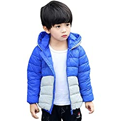 XUANXIANG - Niños Chaqueta de Plumón para Invierno con Capucha Calentito Abrigo Acolchado Ligero Disfraz Panda Estilo Lindo Divertido Coat for Boys - 3 Años - Azul