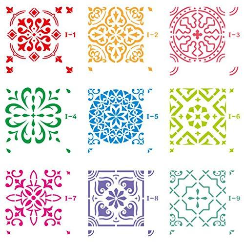 Volwco 9 Stück Fliesenschablonen Mandala Bodenmalerei Vorlagen Set, Verschiedene Muster, DIY Kunst Fliesen Dekor, Wiederverwendbare Schablonen für Holz Wand Möbel Boden Fliesen Stoff 20 x 20 cm