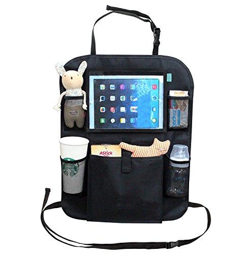 Rücksitz Organizer für Kinder mit Tablet-Halterung von Kid Transit. Durchsichtiges Fach perfekt für 24.6 cm iPad und andere Tablets. Kick-Matte und Rücksitzschoner