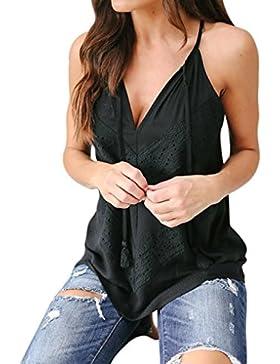 WINWINTOM Blusas y Camisas de Mujer, Verano Casual Camisetas y Tops, Mujer Verano Cordón Sin Mangas Chaleco Camisa...