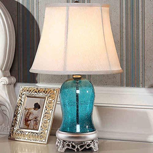 Luod Innenbeleuchtung Tischlampe Mediterran Nordisch Nachttischlampe Schlafzimmer Modern Minimalistisch Blau Glas Pastoral Bestes Preis-Leistungsverhältnis,Dimmer-Taste