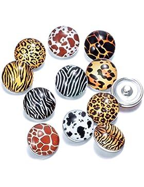 Soleebee Glas Aluminium Click Button fit 5.5mm-Knopfloch Schmuck Charms Set 12 Stück