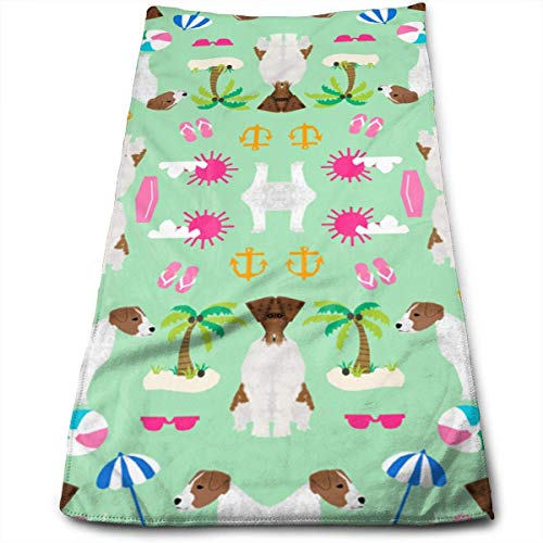 Wodann Jack Russell Terrier Dog Fabric Cute Pets Pet Dog Microfiber Towel (30-Inch-by-70-Inch) Ultra Absorbent Travel Towels Fast Drying Sports Towel Gym Towels- Multifunction Bath Sheet Towel Black Jack-snap