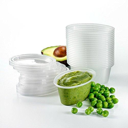 Babypotz - 20 Stück , 90ml, ohne BPA , Mehrwegtransportbehälter für Babynahrung , Tiefkühl fit