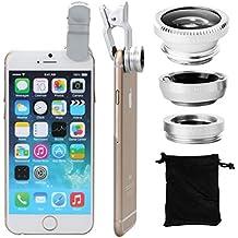 XCSOURCE® Kit de Lentes 180° Ojo de Pez + Gran Angular paraiPhone 4S 4G 4 5 5G 5S 5C 6 6plus 3GS Samsung GALAXY S2 I9100 S3 I9300 S4 I9500 Note I9220 Note2 N7100 Note3 i8190 HTC / 180° Fisheye + Wide Angle Lens por iPhone 4 4S 5 iPad 2 iPad mini Galaxy S3 S4 i9700 Nokia DC264S