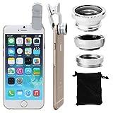 XCSOURCE® Obiettivo Lente Fish Eye 180° + Grandangolo + Macro Lente DC264S per Smartphone, iPhone e iPad, Argento