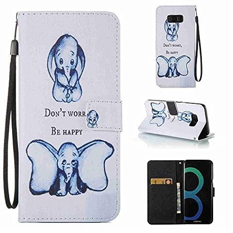 für Samsung Galaxy S8 Plus Hülle Cover Bookstyle Tasche für Galaxy S8+ Weiß Gute Qualität Gute Berührung Schönes Bunt Gemälde Kleiner Elefant