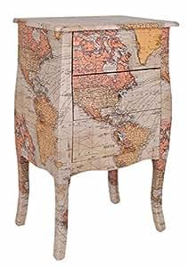 ts-ideen Commode Table de chevet Design Vintage Carte du monde