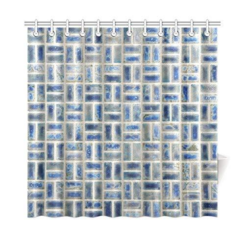 AGIRL Home Decor Bad Vorhang Mosaik Fliesen Neptune Blue Porcelain Design Polyester Stoff Wasserdicht Duschvorhang Für Badezimmer, 72 X 72 Zoll Duschvorhänge Haken Enthalten