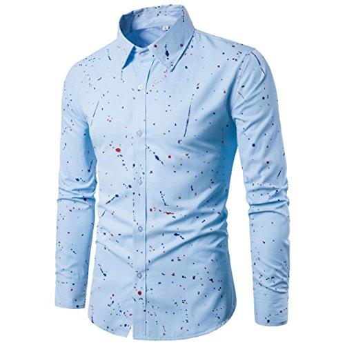 Hombres de manga larga,Manadlian Hombres Camisa de manga larga casual Blusa estampada con ajuste delgado (XL, Azul)