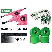Amok Trucks - Juego de ejes para longboard de 7 pulgadas, 180 mm, con rodamientos de bolas ABEC 7, 76 mm, incluye hardware y cinta de agarre, rosa