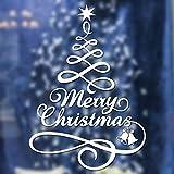 friendGG❤️❤️ Weihnachten Wandaufkleber Wandsticker Wandtattoo, Weihnachtsbaum Fenster Vinyl Wandaufkleber Hauptdekorationen Geschenke (Weiß)