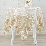 Nclon Europäische Glas-garn Tischdecke, Coffee Table Esstisch Spitze Tischtuch tischwäsche, Runden Rechteckige Rechteckige-Hellbraun 150 * 150cm