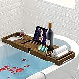 JIANGJIE Badewanne Caddy Tablett Bambus Luxus Einstellbare Wasserdichte Dusche Lesegestell, Tablet-Halter, Handy-Tray und Weinglashalter