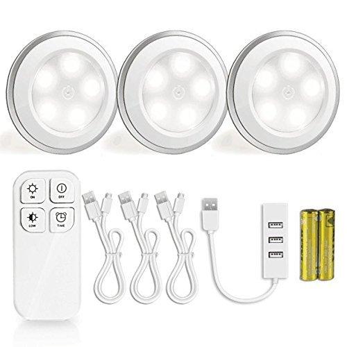 Nachtlicht Kabellose Fernbedienung, Morpilot 5 LED Wiederaufladbare Schranklichter , Drückfunktion USB Spot Licht Stick-On überall Lichter für Schrankleuchten Schränke Dachdecker Garagen Auto Schuppen Abstellraum (5500K, 3Pack)