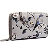 Miss Lulu Women Grey Flower Bird Purse Oilcloth Short Wallet Clutch Hand Bag